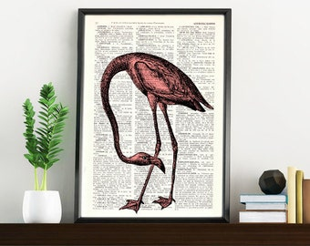 Summer Sale Dictionary page book art print Flamingo Bird Print on Vintage Book altered art  page illustration book print ANI174
