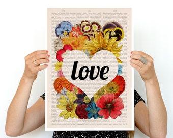 LOVE flowers poster,Love art, Eco friendly art, home decor, Wall art poster, Spring celebration art, Flower art ,A3 poster PBB097