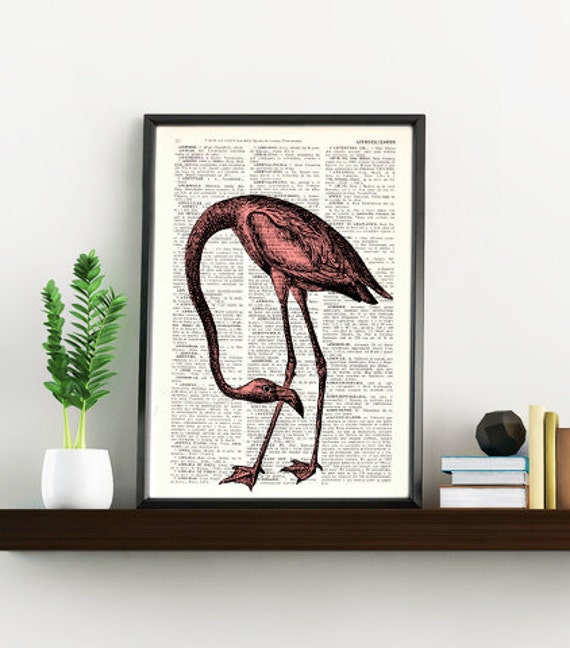 Dictionary page book art print Flamingo Bird Print on Vintage Book altered art  page illustration book print BPAN174