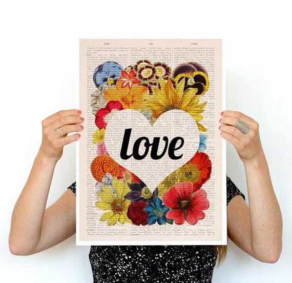 Spring Sale Valentines day LOVE flowers poster,Love art, Eco friendly art, Wall art poster, Spring celebration art, Flower art , PBB097