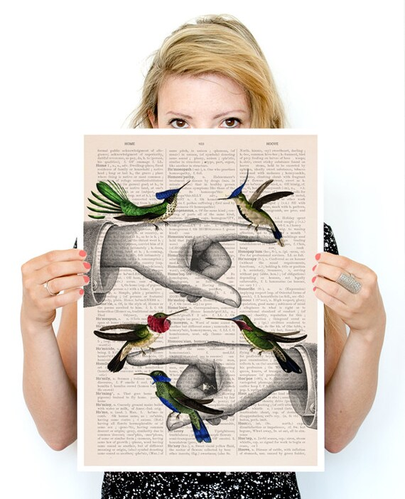 Hummingbirds on pointing hands, Bird art, Funny animal art, Wall art poster, hummingbirds art, Birds art , ANI111PA3