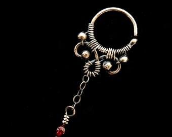 SIlver Hoop Earrings - Helix Piercing - Sterling Silver Earrings - Gemstone Earrings - Drop Earring - Garnet Jewelry - Gemstone Collection