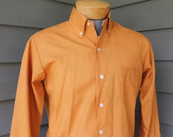 vintage 1960's -Spartan- Men's 'Jivy League' button down collar shirt. 'New Old Stock'. Orange Batiste with lined collar. Medium