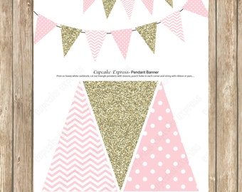 Pink Gold Pendant Banner Birthday girl coral pink gold PRINTABLE  chevron polka dot glitter 1st birthday Instant Download DIY - 1030
