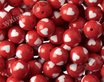 20mm - Red Heart Gumball Beads, 20mm heart Beads, 20mm Gumball Beads, Chunky Heart Beads, Bubble Gum Beads, Valentine's Day Beads, 2MM Hole