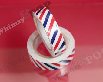 SALE  - 1 Striped Roll Red White Blue Fabric Cotton Deco Tape, Deco Tape , Crafts DIY Decoration, 15mm (C1-26)