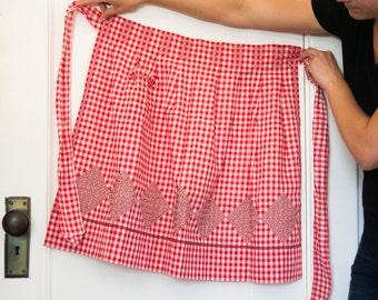 Vintage Red Gingham Apron - Hostess Wedding Gift - Bride - Kitchen - Embroidered