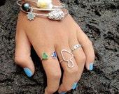 Maui Island Ring, Sterling Silver, Handmade Hammered, Hawaii Beach Jewelry, Maui Girl Gift Idea, Minimalist, Simple Outline Design, Textured