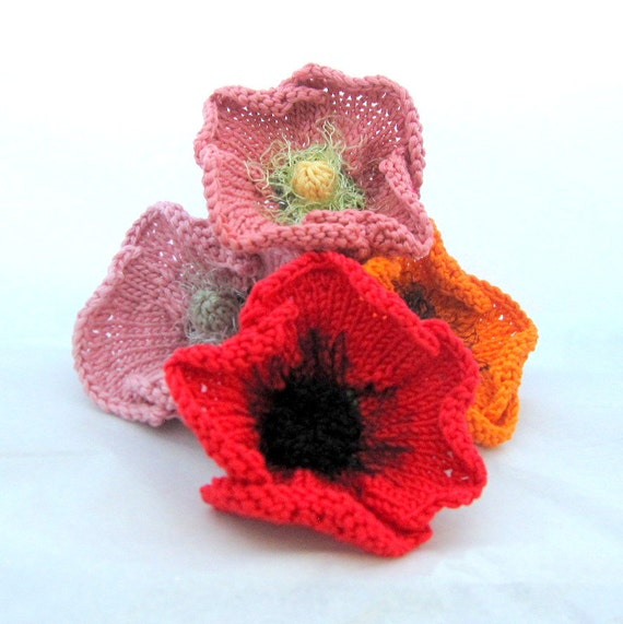 Knitting Pattern For Poppy Flowers : Knit Flower Instant Download PDF Pattern Poppy Flower by OhmayDIY