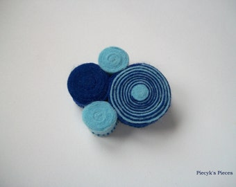 Swirly Felt Brooch - Blue and Navy Blue Felt Brooch OOAK