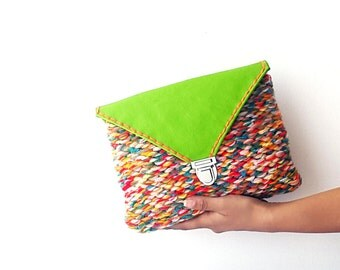 Leather knit clutch bag, handknit clutch, everyday clutch, genuine leather clutch, neon green clutch, fiber clutch, knitted bag, boho clutch