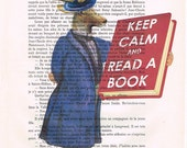 Keep calm an read a book print quote art print on an vintage french dictionary art page keep calm mixed media dandy deer keep calm print