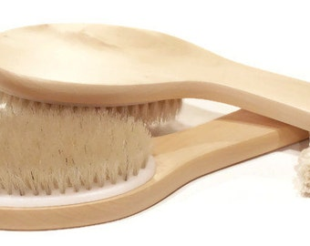 Angled Body Brush - Natural Bristle & Wood Angled Body Brush - Dry Brushing - Dry Body Brush for Exfoliation, Circulation and Cellulite Aid