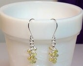 Tiny Citrine and Peridot Gemstone Cluster Drop Earrings, Mothers Day Christmas Mom Sister Bridesmaid Girlfriend Birthday Wife Jewelry Gift