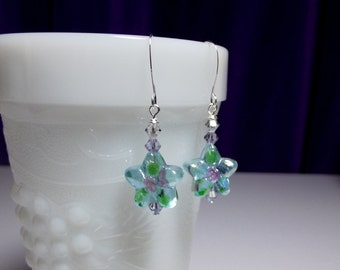 Blue Green Pink Flower Lampwork and Crystal Earrings, Mothers Day Gift, Mom Sister Grandmother Bridesmaid Jewelry Gift,