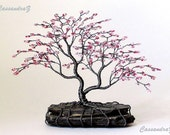 Asymmetrical Cherry Blossom Beaded Bonsai Mini Wire Tree Sculpture Spring Colors - MADE TO ORDER Custom