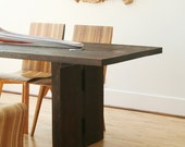 vashon dining table - from reclaimed roughsawn ebonized wood - old growth fir, modern industrial