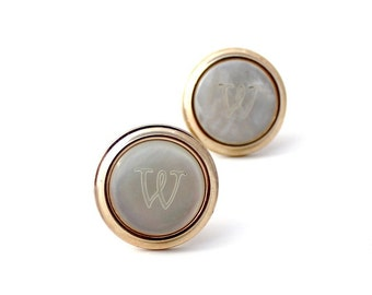 Initial W Mother of Pearl Cuff Links - Gold Mother of Pearl Cuff Links - Vintage MOP Cuff Links