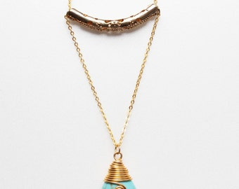 Turquoise Necklace wire wrapped - teardrop pendant with gold tone chain
