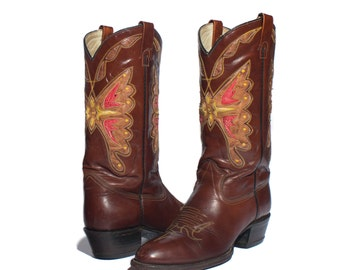 9.5 D | Men's TEXAS Butterfly Cowboy Boots Round Toe Inlay Western Boots