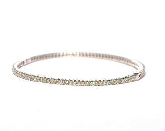 18k Pave Eternity Diamond Bangle/Cuff Stackable Bracelet