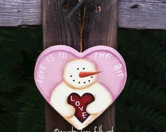 Valentines day decor, snowman heart ornament, winter tree ornament, pink heart ornament, paper mache, hand painted, snowman valentine, love