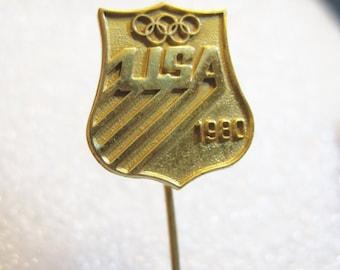 Vintage 1980 USA Olympic Goldtone Stick Pin
