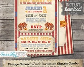 Vintage Circus Invitation - INSTANT DOWNLOAD - Editable & Printable Birthday Party Invitation by Sassaby