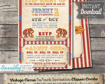 Vintage Circus Invitation - INSTANT DOWNLOAD - partially Editable & Printable Carnival, Elephant, Big Top, Birthday Party Invite