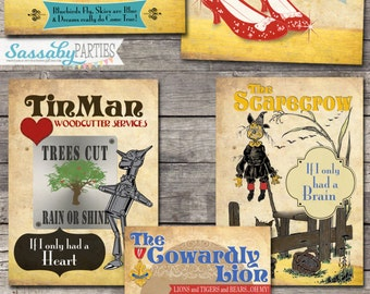5 Wizard of Oz Posters Signs - INSTANT DOWNLOAD - Printable Party Over the Rainbow, Yellow Brick Road Decorations by Sassaby Parties