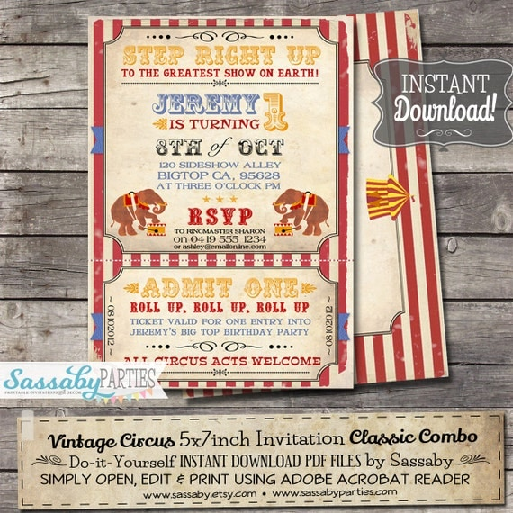 Vintage Circus Invitation - INSTANT DOWNLOAD - Editable & Printable Carnival Birthday Party Invitation by Sassaby Parties