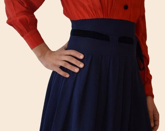 1940s 1930s Two-tone Swing Dress - Velvet Bow