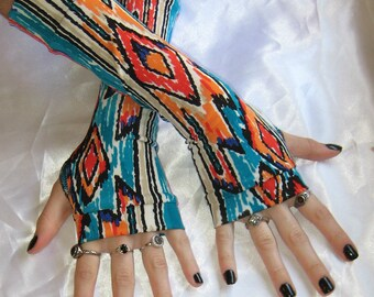 Aztec Arm warmers fingerless gloves Armwarmers - Quiyahuitl - belly dance indian tribal boho bohemian ethnic goth gothic arm warmer sleeves