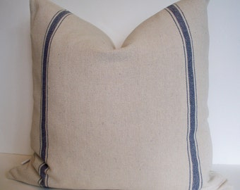 Blue Stripe Grainsack Look Pillow Cover Blue Stripe Grainsack Pillow Blue Farmhouse Pillow French Country Pillow