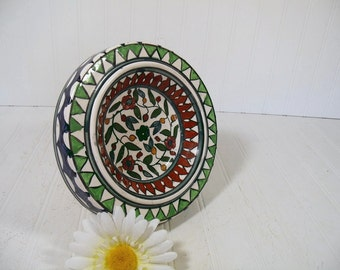 Oversized Hand Painted Multicolor Ceramic Coffee Table AshTray - Vintage Hand Crafted Arab Pottery Design Dish Made in Hebron
