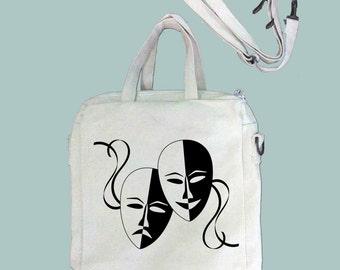 Theater Masks Vintage Illustration Canvas Purse, Tablet Bag/Carrier, Cosmetic Case -- Removable, Adjustable shoulder strap