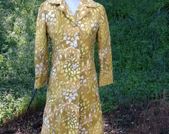 Vtg 1960s Cloudburst by Samuel Martin Ltd Designer Overcoat Coat yellow Sz 8 6 M 3/4 sleeves