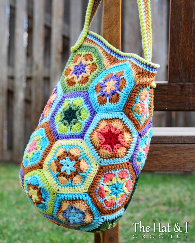 Crochet Boho Bag Pattern : CROCHET PATTERN Boho Bag an african flower crochet by TheHatandI