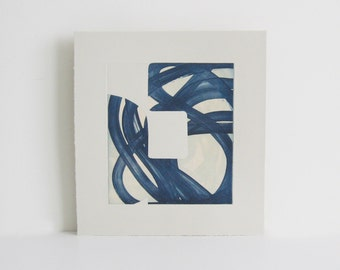 "Etching Print . Pale blue + Navy blue: ""Swatch 7"". Print Size 10.5"" x 11.5"". unframed"