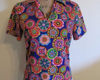Flower Power 1970's Bright Colorful Psychedelic Women's Blouse Top  **Free USA Shipping**