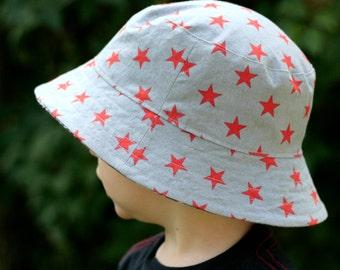 boy's bucket hat, patchwork plaid stars, reversible, 5 sizes