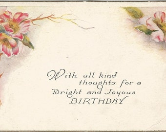 Old Fashioned Pink Country Roses and Poem decorate this Vintage Birthday Postcard 1910d