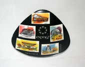 Expo 67 Triangular Plate Montreal Canada Memorabilia Souvenir Plate Dish Retro Mod Atomic Era World's Fair with Architecture Images Ash Tray