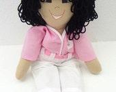 ethnic-latino-latina-indian black hair tan skin pink softball handmade-ragdoll-rag dolls-cloth doll,  NF137