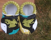 Baby Shoes with Frogs in Green and Black and Yellow - Gender Neutral - Choose 0-3 or 3-6 months