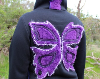 Long Faerie Wing Purple Hoodie Coat Psy