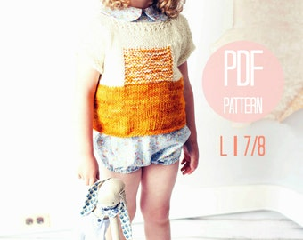 Sunrise Pullover Knit Sweater Pattern Girls Large Knitting Pattern Color Block Textured Modern Jumper
