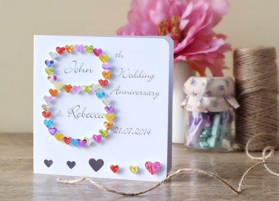 Handmade 3D 8th Wedding Anniversary Card Personalised Eighth