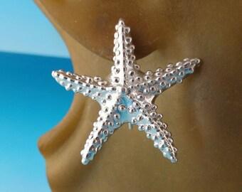 Starfish Ear Wire Earrings, Sterling Silver Starfish Earrings, Sea Star Earrings, Beach Design, Wedding Jewelry