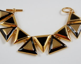 Vintage Black and Gold Tone Bracelet c1980s Triangles